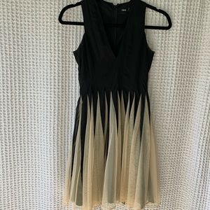 V-Neck Mesh Detail Dress
